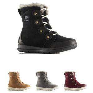 a7512e1f2 Womens Sorel Explorer Joan Snow Suede Rain Winter Ankle Waterproof ...