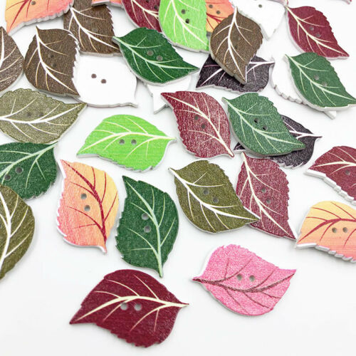 50Pcs Mixed Leaves Wood Apparel Sewing Buttons Clothes Scrapbooking WB687