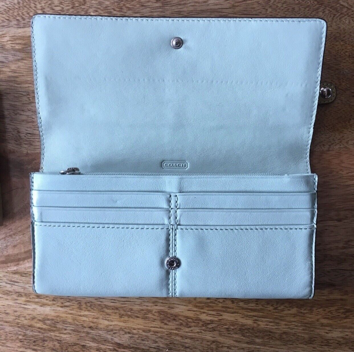 Coach Blue And Green Bonnie Bifold Wallet - image 3