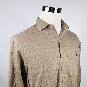 Polo-Ralph-Lauren-Mens-Medium-Glen-Plaid-Casual-Shirt-Brown-Blue-Recent-Label