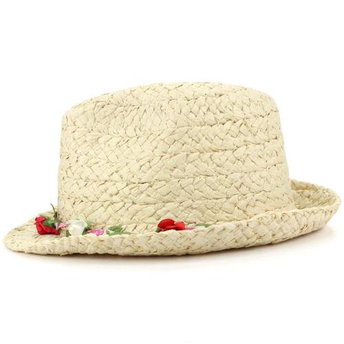 Trilby Hat Straw Fedora Cap Ladies Unisex Brim Travel Hawkins FLOWER GARLAND