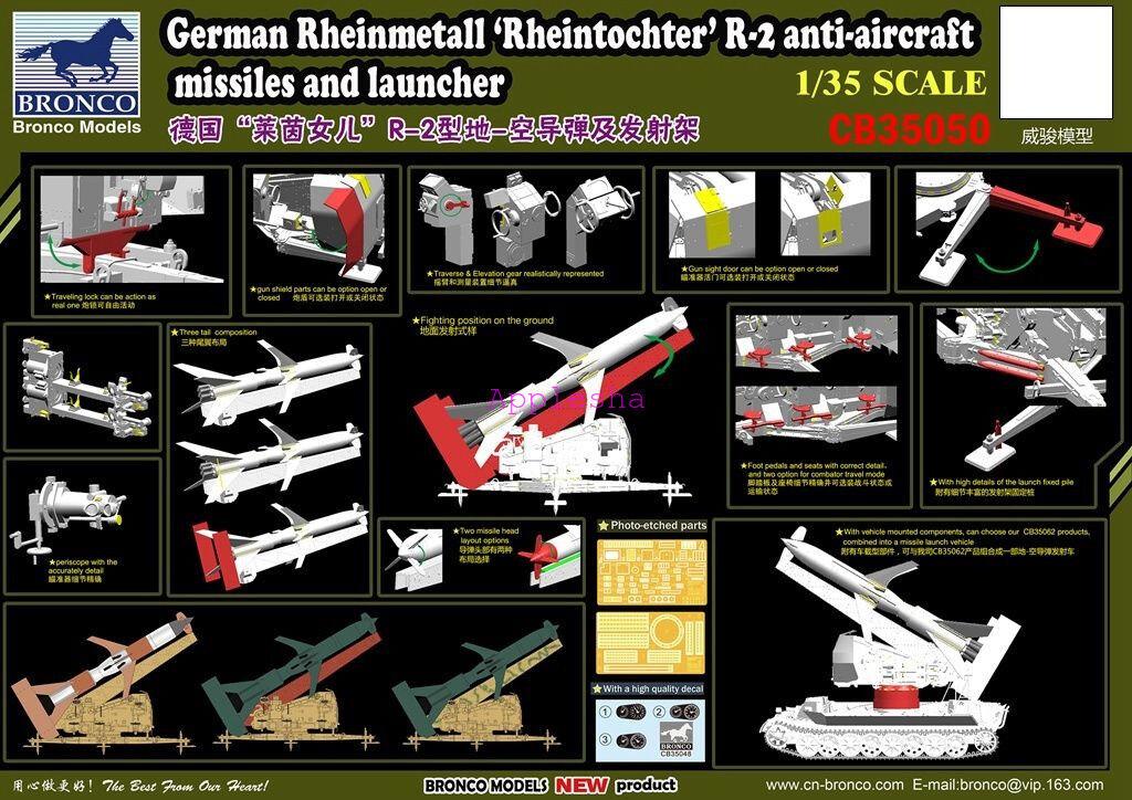 Bronco 1 35 35050 German Rheinmetall Rheintochter R2 Missiles w Launcher