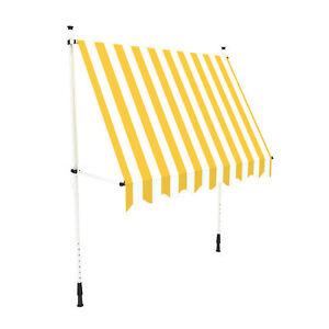 Markise-Balkon-Klemmmarkise-Sonnenschutz-395x120cm-Gelb-Weiss-ohne-Bohren-B-Ware