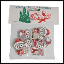 8x Christmas Wooden: Grey Owl  Stickers Embellishments Craft Cardmaking