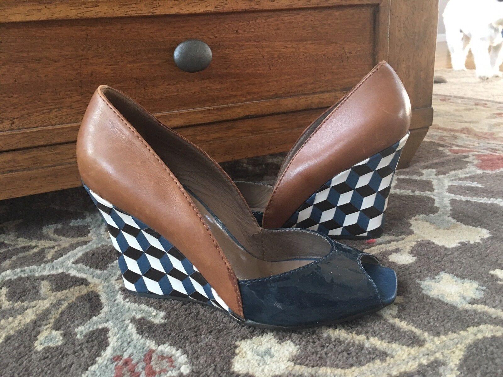 Dove Nuotano Gli Squali Size 38.5 Wedge Heel Shoes Blue Tan Checker Approx 8.5