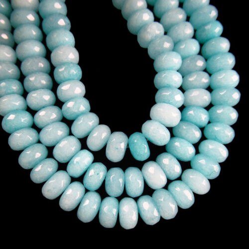 1Strand 8x5mm Faceted Sky Blue Jade Rondelle Loose bead 15.5inch H03