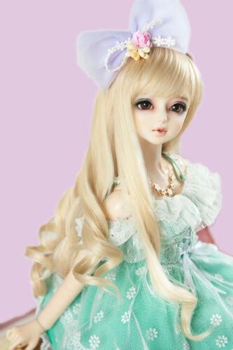 "New 1//8 Girl BJD SD Doll Wig Long Dollfie 5 /""Bjd Doll Wig Long Curly Hair Free"