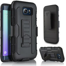 Custodia cover SLIDING RUGGED per Samsung Galaxy S6 Edge G925F clip cintura NERA