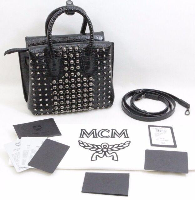 MCM Milla Pearl Studs Tote Handbag Black- New - Free Shipping cac9ae599443