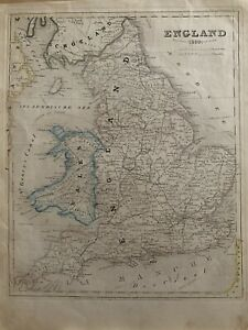 1850-ENGLAND-amp-WALES-ANTIQUE-HAND-COLOURED-MAP-BY-JOSEPH-MEYER