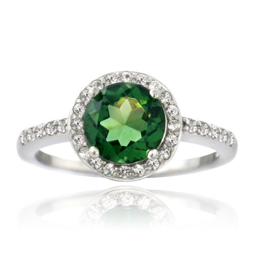 Sterling Silver Created Gemstone /& White Sapphire Round Ring 3 Colors