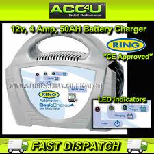 Ring RCB104 12v 4 Amp 50Ah Up To 1.2L Engine Car Motorcycle Bike Battery Charger