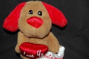 "DANDEE VALENTINE RED HEART BROWN PUPPY DOG 8"" LOVE YA THIS MUCH STUFFED PLUSH"