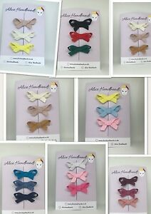 Set-of-3-Mini-Hair-Clip-Petersham-Ribbon-School-Girls-Toddler-Baby-Hair-Lot
