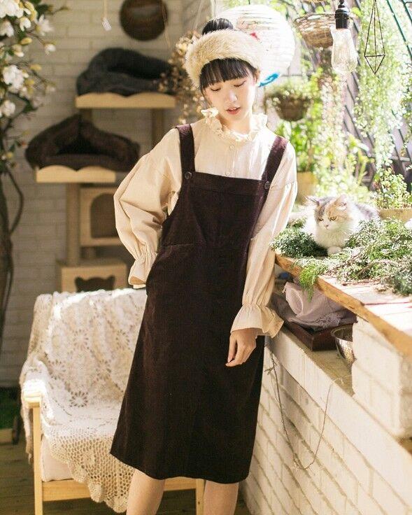 Robe tablier salopette velours retro vintage Mori Japon ancien boheme Shabby