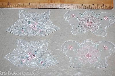 NEW 4 Amazing Lacey White Mesh Lingerie Appliques/Pink Green Floral/Rose Leaves