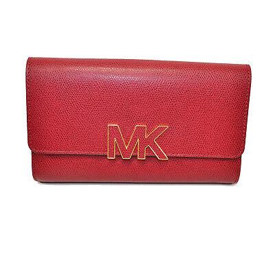 ba7acdfdb408 Michael Kors NWT Florence Emb Leather Wallet Lg Billfold Dazzling CHERRY  Clutch
