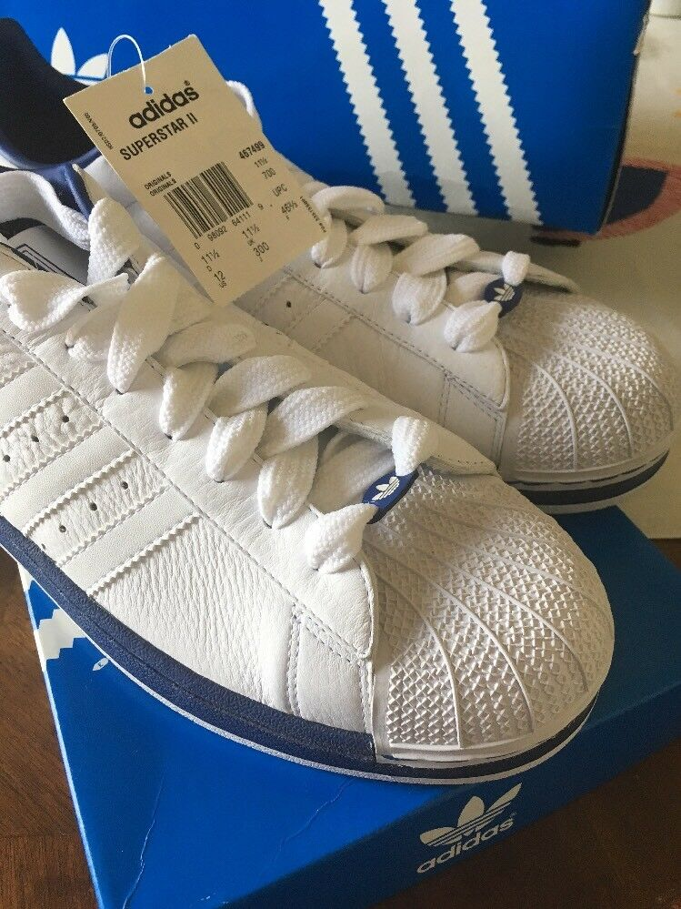 RARE ADIDAS® Superstar II Price reduction Men's White Leather Shoes Blue Sole New! 12