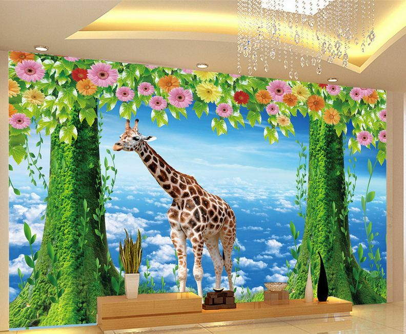 3D Mega Giraffe And Scenery 419 Wall Paper Wall Print Decal Wall AJ Wall Paper