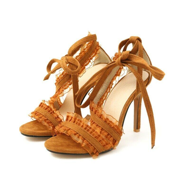 Plus Size Womens shoes Open Toe Lace up S-strap Fashion Summer Ladies Sandals