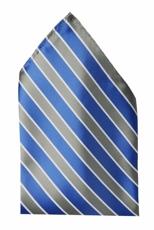 Einstecktuch blau grau weiß gestreift Hochzeit Fabio Farini Business edler Glanz