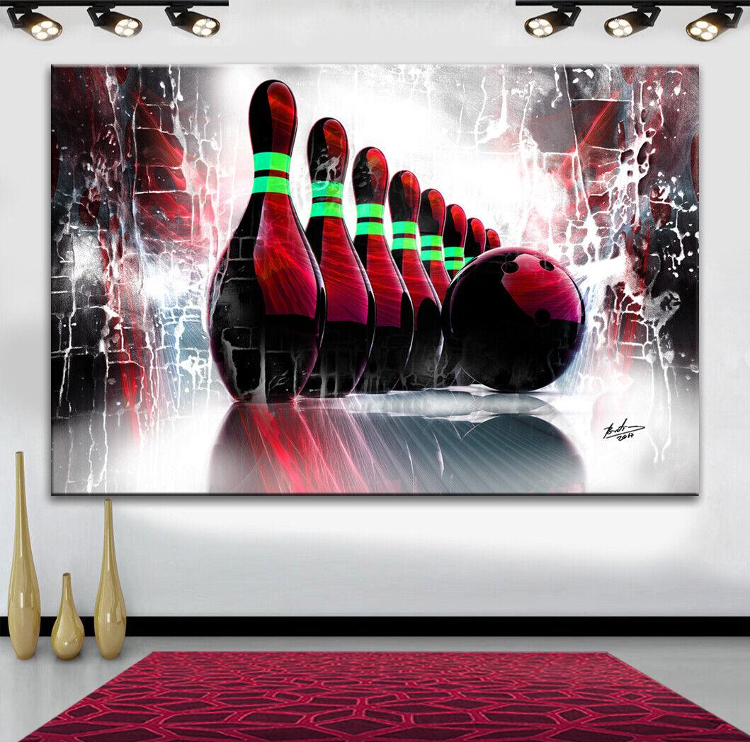 Bowling Sport Bilder auf Leinwand Abstrakt Wandbild KUNST Kunstdruck XXXL 2694A