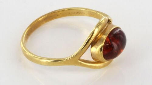GR0681 RRP £375!! Italian Unique Handmade German Baltic Amber Ring in 18ct Gold