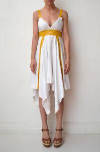 WILLOW-KITX-White-Linen-Blend-Yellow-Patent-Trim-Handkerchief-Hem-Dress-10-Fit-8
