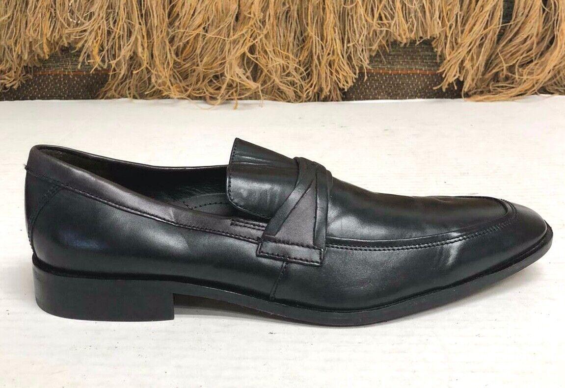 Joseph Abboud Size 10.5 M Black Leather Slip On Loafer Mens Dress Shoe 15-1541
