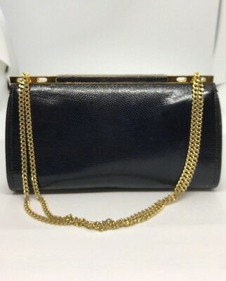88989f9acef Vintage Authentic Gucci Dark Navy Blue Lizard Skin Clutch With Gold Tone  Chain