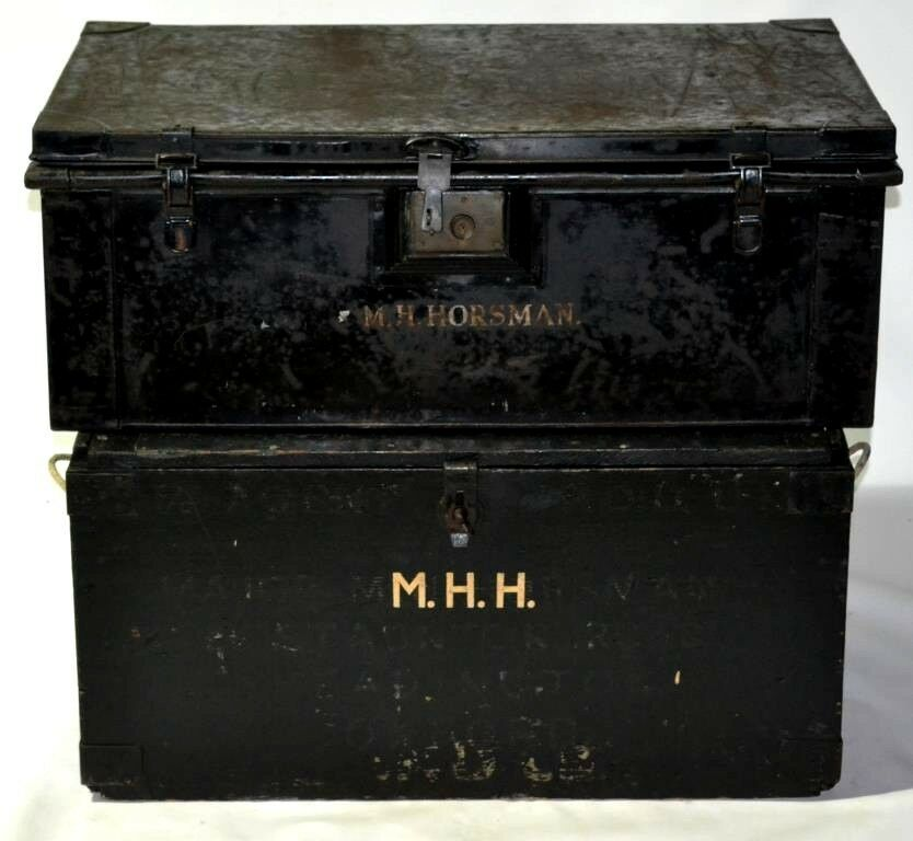 2 x Military Boxes METAL and WOOD Ex British Army Major [PL2721]