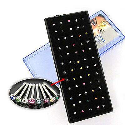 60 PCS 316L Surgical Steel Clear Rhinestone Nose Stud Ring Pin Body Piercing