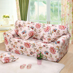 Image Is Loading Red Floral Stretch Fitted L Shaped Sofa Cover