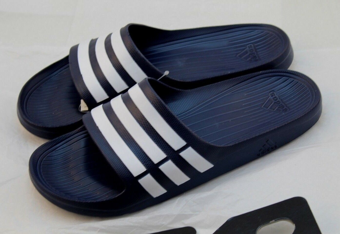 ADIDAS Duramo Navy Blue Slide Athletic Sandals Men's Size 11 (US)
