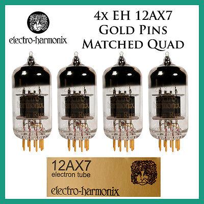 Quartet New 4x Electro Harmonix Gold 12AX7 Four Tubes ECC83Matched Quad