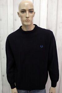 FRED-PERRY-Taglia-XL-Maglione-Blu-Uomo-Lana-Man-Casual-Pull-Pullover-Sweater