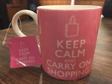 Keep Calm and Carry On Shopping Pink Coffee Mug Tea Cup 12oz Home Essentials New