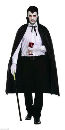 Black Cape Long Hood Velvet Ladies Mens Halloween Fancy Dress Vampire Dracula