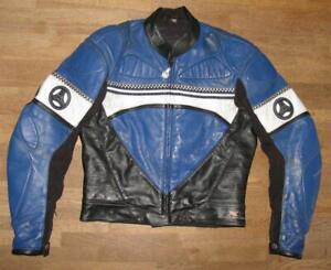 034-Hein-Gericke-034-Men-039-s-Motorcycle-Leather-Jacket-Biker-Jacket-IN-Blue-Approx