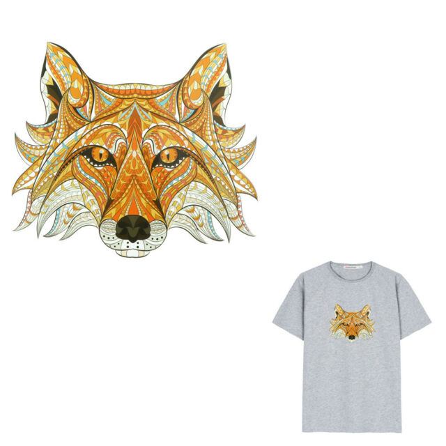 Fox heads Iron On Patches Washable Heat Transfers Stickers Appliques for Clothes