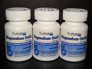 PlusPharma-Magnesium-Oxide-400mg-Tablets-120ct-Btl-3-Pack-Expiration-09-2021