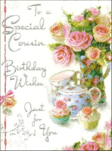 V75 TO A SPECIAL COUSIN BIRTHDAY WISHES JONNY JAVELIN VELVET BIRTHDAY CARD