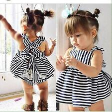 2PCS Set Newborn Toddler Infant Baby Girls Outfits Clothes Lace Tops Dress+Pants