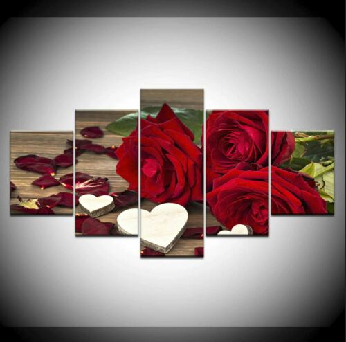 Red rose and white wood Heart 5 PCs Canvas Print Wall Poster Home Decor Cuadros