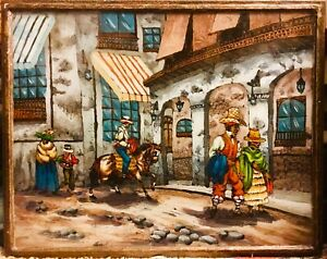 Vtg-MCM-Folk-Art-Original-Reverse-Painting-On-Glass-Mexican-Village-Signed