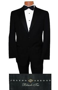 40R Joseph Abboud Tux 120s Wool Classic Tuxedo Suit Vest Tie Cummerbund Included