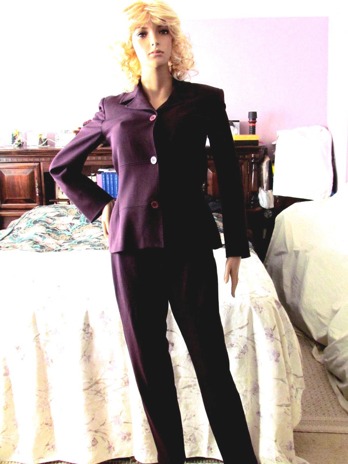 greenigo Paris Women's 2 Pcs.Pant Suit BurgundyFront ButtonsSize M Made in France