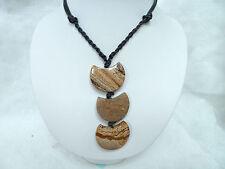 Jaspis Landschaft *Umsetzung* Halskette mit Lederband EDELSTEIN SCHMUCK KREATION