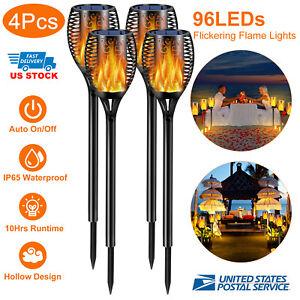 1-ou-4-Pack-96-DEL-etanche-solaire-torche-Light-Dancing-clignotante-flamme-lampe