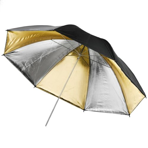 Walimex pro reflex paraguas//Studio pantalla dual oro//plata 2 capas 109cm